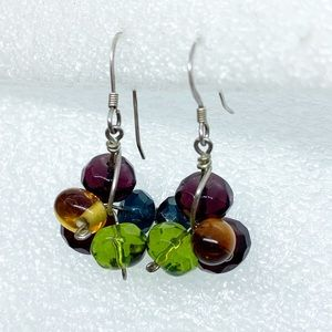 Colorful Glass Bead Sterling Dangle Drop Earrings